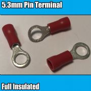 Red Ring Hoop Fully Insulated Electrical 5.3mm Crimp Terminals Cable Wire